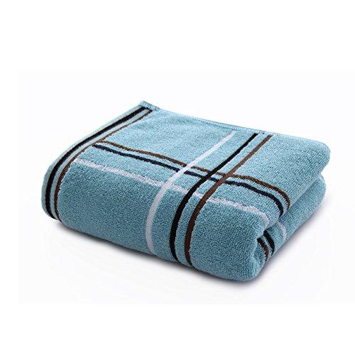 Danigrefinb Classic Plaid Print Weiche Baumwolle Gesicht Bad, saugfähig für Erwachsene Kinder Familie Handtuch Set von 4 blau (Luxuriöse Ägyptische Baumwolle-bad)
