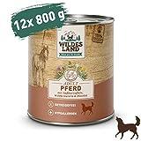 Wildes Land   Nassfutter für Hunde   Nr. 3 Pferd   12 x 800 g   mit Süßkartoffeln, Wildkräutern & Distelöl   Glutenfrei   Extra viel Fleisch   Beste Akzeptanz und Verträglichkeit