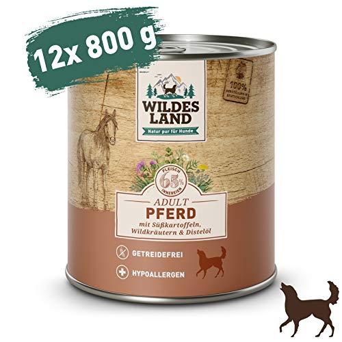 Wildes Land | Nassfutter für Hunde | Nr. 3 Pferd | 12 x 800 g | mit Süßkartoffeln, Wildkräutern & Distelöl | Glutenfrei | Extra viel Fleisch | Beste Akzeptanz und Verträglichkeit