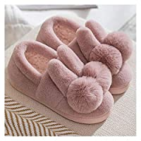 YUTJK Slipper Memory Foam Fluffy Slip-on House Suede Fur Lined/Anti-Skid for Women and Men,Cute Rabbit Ear Cotton Shoes Men-Pink_5/5.5UK