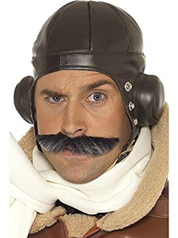 Smiffy's Adult Unisex Flying Helmet, Brown, One Size,