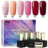 Azure Beauty UV Nagellack, Rot und Rosa Glitzer Farbe mit Geschenk verpackt, Led Nageldesign Entferner Maniküre Gel Polish 6x7ml