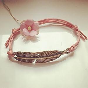 Kleines Feder Armband in Rosa Bronze Größenverstellbar, feather / vintage / ethno / hippie / must have / statement / florabella schmuck