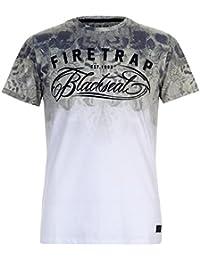 Firetrap Mens Blackseal Hawkmoth T Shirt Crew Neck Tee Top Short Sleeve Round