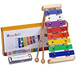 Xylophone Musical Toys for Toddlers - Smarkids 15 Piece Rhythm Musical Instruments Set Percussion Wooden Toys Baby Educational Early Learning Toys for Boy and Girl with Wooden Mallet and Toy Storage Backpack