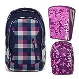 satch Sleek Berry Carry 3-teiliges Set Rucksack, Triple Flex & Regenhaube lila