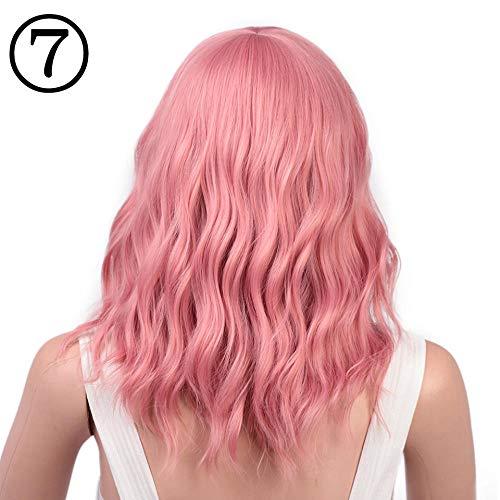 Parrucca parrucche parrucca sintetica ondulata corta rosa con parrucca bang purple wave può essere cosplay halloween capelli per donna parrucca sintetica ondulata corta rosa @ nc / 4hl_14inches