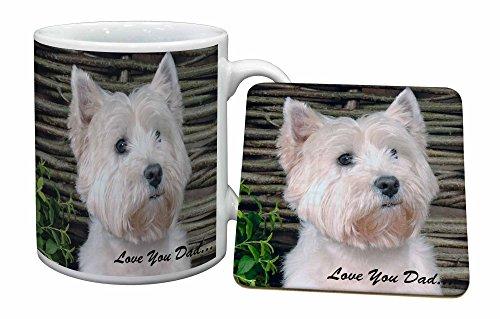 Advanta - Mug Coaster Set Westie Hund 'Love You Dad' Becher und Untersetzer Tier Gesche -