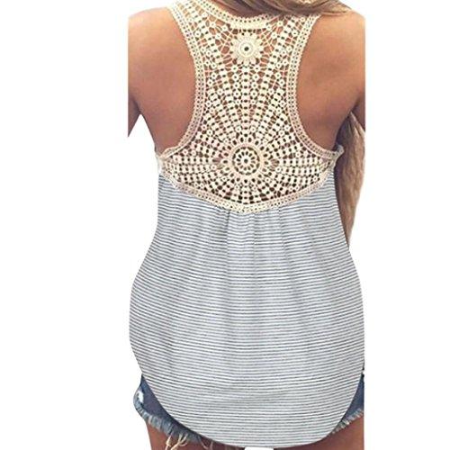 VEMOW Neue Design Mode Frauen Damen Mädchen Sommer SeLace Weste Top Kurzarm Bluse Casual Tank Tops T-Shirt(Hellgrau, EU-42/CN-XL)