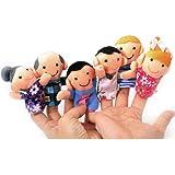 TOOGOO(R) Juego de 6 Marionetas de Dedo - Familiares Incluyen Madre, Padre, Abuelo, Abuela, Hermano, Hermana con Lazo de Cable