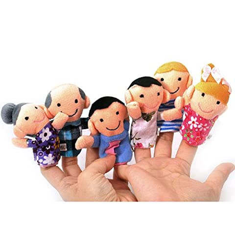 TOOGOO(R) Cute 6pcs Family Finger Puppets - People Includes Mom, Dad, Grandpa, Grandma, Brother, Sister Free Cable