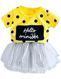 Conjunto de verano y falda de niña pequeña Conjunto de manga corta y camiseta estampada de