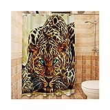 Beydodo Bad Vorhang für Badezimmer 150x180 Leopard Lustiger 3D Duschvorhang Antischimmel