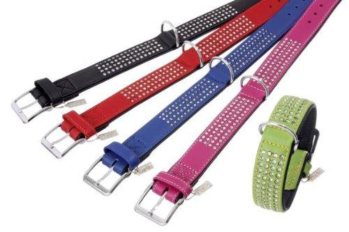 Holly Leder (Karlie Leder Halsband Holly Golightly mit 4 reihigem Strassbesatz in 10 Farben und 4 Größen (von 50 bis 65 cm))
