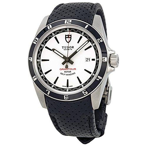 Tudor GRANTOUR blanco Dial negro microperforated cuero Mens Reloj 20500N-wsbkmcpl