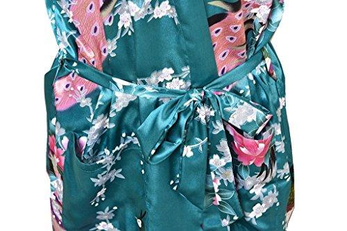 Honeystore Damen lange Kimonos für Damen Bademantel aus Satin mit Pfau und Blüten Morgenmantel Robe Schlafanzug Dunkelgrün