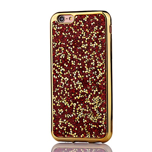 """iPhone 6sPlus Hülle, Kristal Glitzer CLTPY iPhone 6Plus Ultradünne Glänzend Plating TPU Handytasche mit Sparkly Bling Diamant, Weich Stoßdämpfend Silikon Schale Fall für 5.5"""" Apple iPhone 6Plus/6sPlus Gold-Rot"""