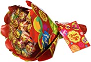 Chupa Chups Flower Bouquet, Lollipop Gusti Frutti Assortiti al Limone, Arancia, Fragola, Mela, Anguria e Cilie