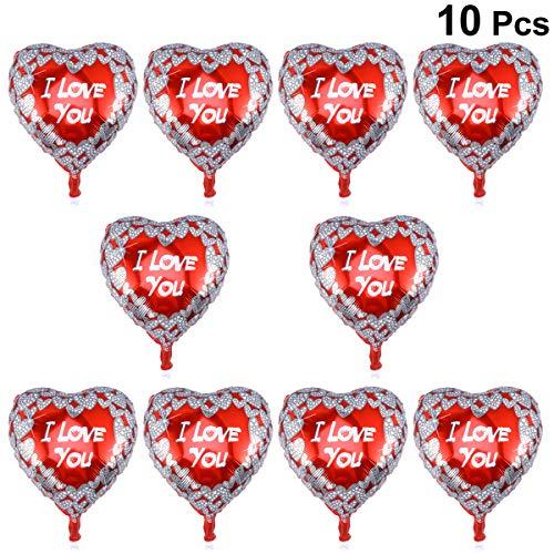 BESTOYARD Globos de Aluminio en Forma de Corazón con TE Amo para Decoración del Fiesta del Día de San Valentín y Boda Aniversario 10pcs
