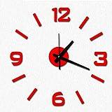 QHGstore Cuatro colores Números DIY Reloj de pared de acrílico del espejo pegatinas de pared Relojes Decoración del reloj rojo