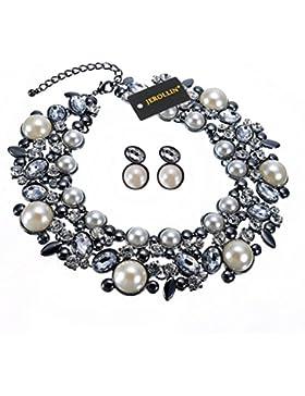 Jerollin Damen Halsketten Choker Collier Halsband Necklace Halsreif Bib Kristall Glas Elegant Charme Statement...