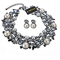 Jerollin Set Collana da Donna Girocollo con Orecchini Perle Diamante Regalo
