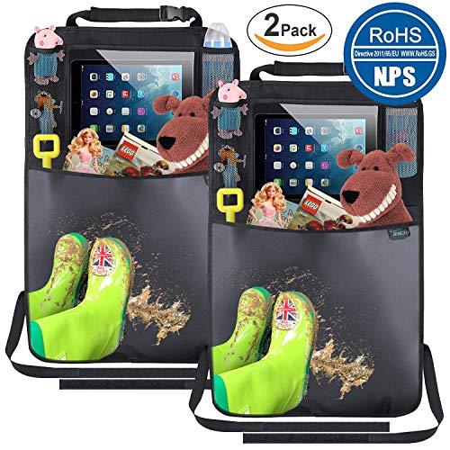 Rückenlehnenschutz für Auto(2 Stück), Rücksitz Organizer Auto für Kinder, Kick-Matten-Schutz mit Extra Großen iPad-Tablet-Halter/Tablet-Fach, Autositz-Schoner wasserdicht, RoHS-zertifiziert