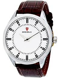 Svviss Bells™ Original White Dial Brown Leather Strap Analog Wrist Watch For Men - TA-948