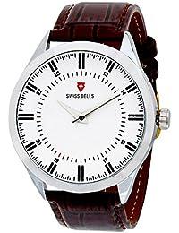 Svviss Bells™ Original White Dial Brown Leather Strap Analog Wrist Watch For Men - TA-948