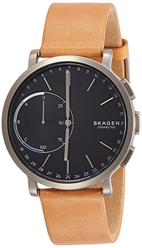 Skagen Mens 42mm Hagen Connected Titanium And Brown Leather Hybrid Smart Watch
