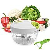 Uten Picadora de Alimentos, Capacidad de 500 ML, 3 Cuchillas de Acero Inoxidable, Cortador de Verduras para Verduras / Frutas / Carne, etc, Color Blanco y Verde