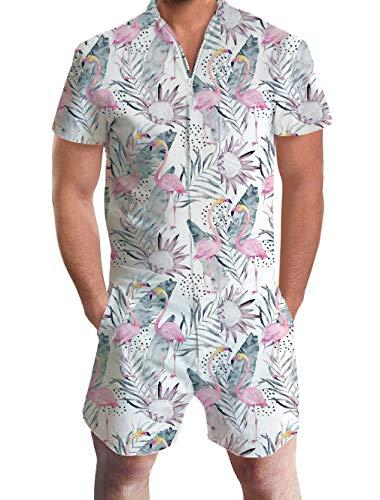 Flamingo Kostüm Männer - ALISISTER Onepiece Jumpsuit Kurz Herren Overalls