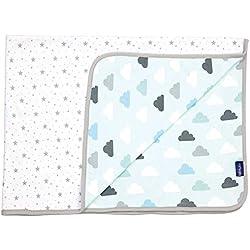 Bébé-Jou Clouds & Stars - Arrullo-mantita, algodón 100%, reversible, color verde menta