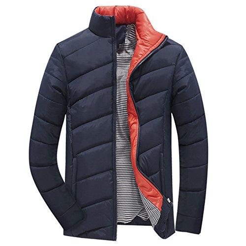 Highdas Homme Regular Fit Classic Solid Coat Winter Cotton Bleu