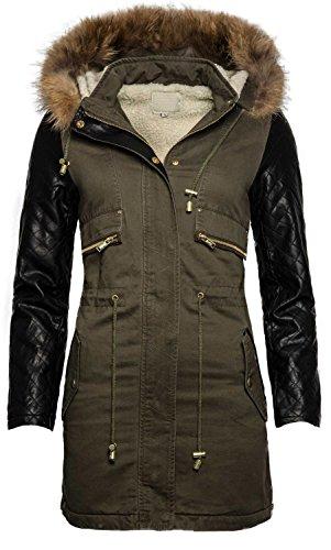Giacca invernale caldo parka cappotto in eco pelle maniche teddy pelliccia foderato b340 olive small