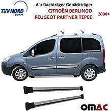 Dachreling für Citroen Berlingo II Peugeot Partner Tepee Alu Schwarz mit TÜV ABE