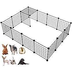 LANGXUN Organisateur de Cubes de Stockage de Fil de métal | Clôture Mobile de Yard de Fil en métal de Produits d'animal familier (Noir, 16 Panneaux)