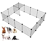 LANGXUN Metal Wire Storage Cubes Organizer, DIY Small Animal Cage for Rabbit, Guinea Pigs, Puppy | Pet Products Portable Metal Wire Yard Fence (Black, 16 Panels)