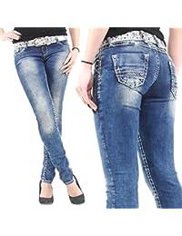 Cipo & Baxx Damen Jeans CBW 639 Stretch Slim Fit und weißen Nähten blau