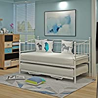 Newzeal French Metal Versailles Single Day Bed with Pull Out Guest Trundle Bed 2ft6 - Black or White