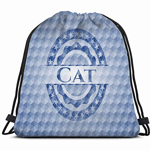 Desing shop cat Blue Emblem Badge Geometric Signs Gym Sack Bag Drawstring Sport Beach Travel Outdoor Backpack for Women 17X14 Inch (Fabric Screen Printing Kit)