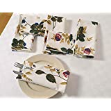 "Floral Cotton Napkins Set For Horde Ouveres - 13"" X 13"" - Set Of 6 Premium Table Linens For The Dining Room - White, Red And Blue Rose"
