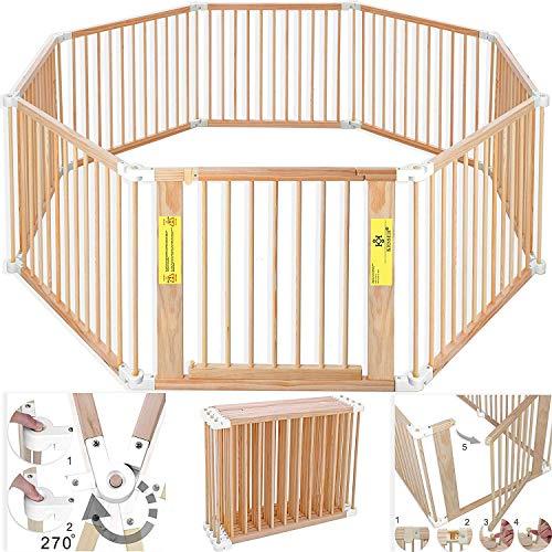 Kesser® 7,2 Meter Laufstall XXL klappbar, bestehend aus 8 Elementen, inkl. Tür, Laufgitter individuell formbar Laufgitter Absperrgitter, Erweiterbar (Weiss)