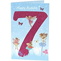 Age 7 Birthday Card - 7th Birthday Card for Her - Flower Fairies Birthday Card - Ideal Gift Card for Kids - Flower Fairies Gifts for Kids - Fairy Birthday Card