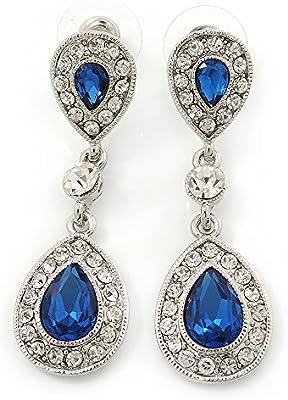 Suite/boda/diseño de vestido de fiesta azul/transparente en forma de lágrima con circonitas Juego de pendientes de rodio en relieve con brillantes en - 50 mm L