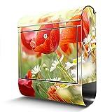 BANJADO Edelstahl Briefkasten mit Zeitungsfach, Design Motivbriefkasten, Briefkasten 38x43,5x12,5cm groß Motiv Kamille Und Mohn