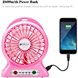 Ventilador USB, dizauL multifunción escritorio o mesa de alimentación del ventilador de 3 velocidades banco móvil portable de la linterna LED +-rosa