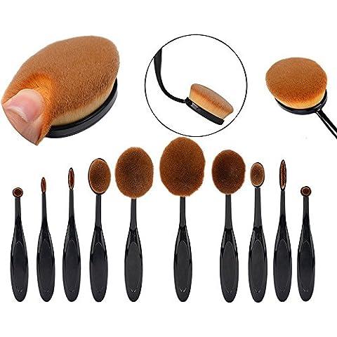 westeng 10pcs/set Oval cepillo de dientes forma cepillo de maquillaje y Cosméticos Fundación líquida, en crema o en polvo colorete herramienta de pigmentos