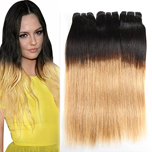 Huarisi Straight Brazilian Bundles 1b/27 Human Hair Ombre Extensions Black to Strawberry Blonde Hair Weaves for Women 18 20 22 Inches - Strawberry Hair Extensions