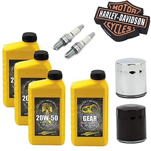 Kit tagliando GARANZIA harley davidson SPORTSTER SEVENTY TWO 72 ROADSTER CUSTOM Olio Motore 20W50 Olio Primaria 2 Candele Filtro